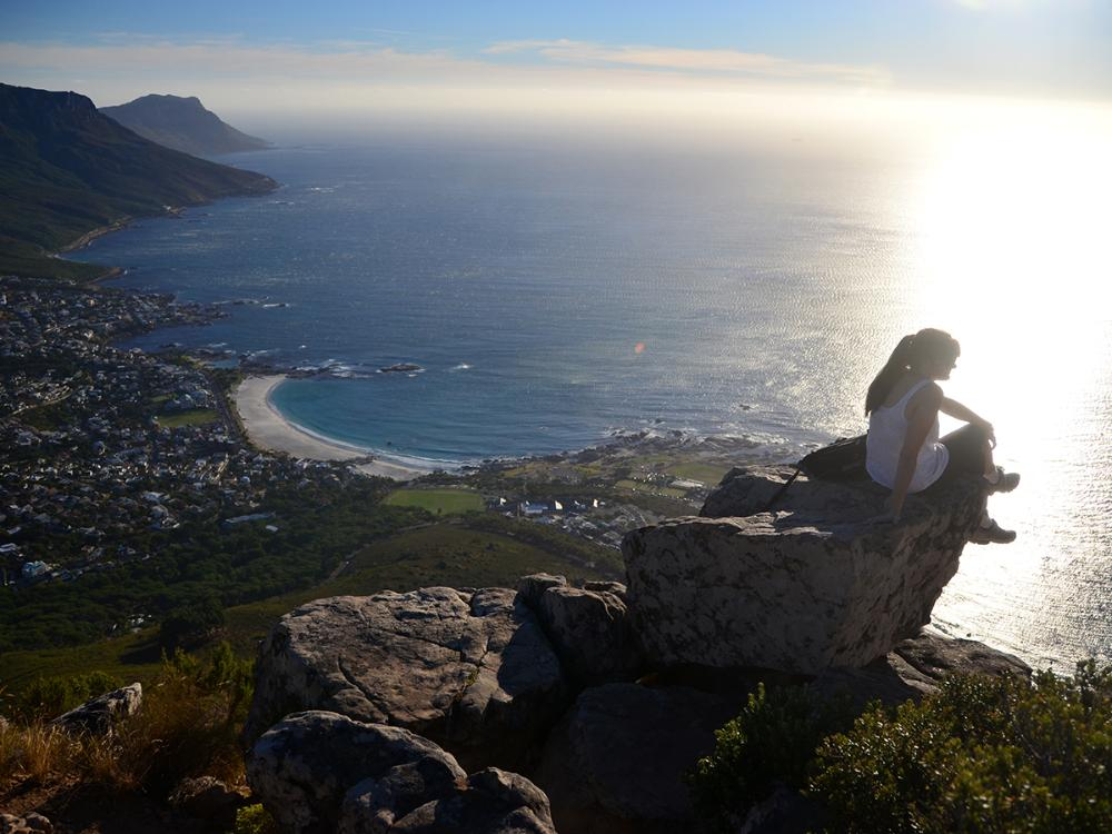 Cape Town student by ocean